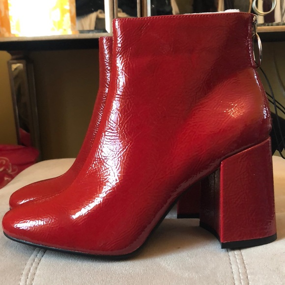 hot-selling genuine top-rated cheap custom Red Patent Block Heel Booties NWT